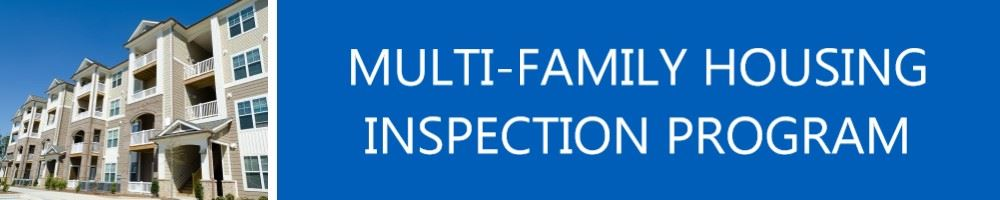 Image of Front of Apartment Complex titled Mulit-Family Housing Inspection Program