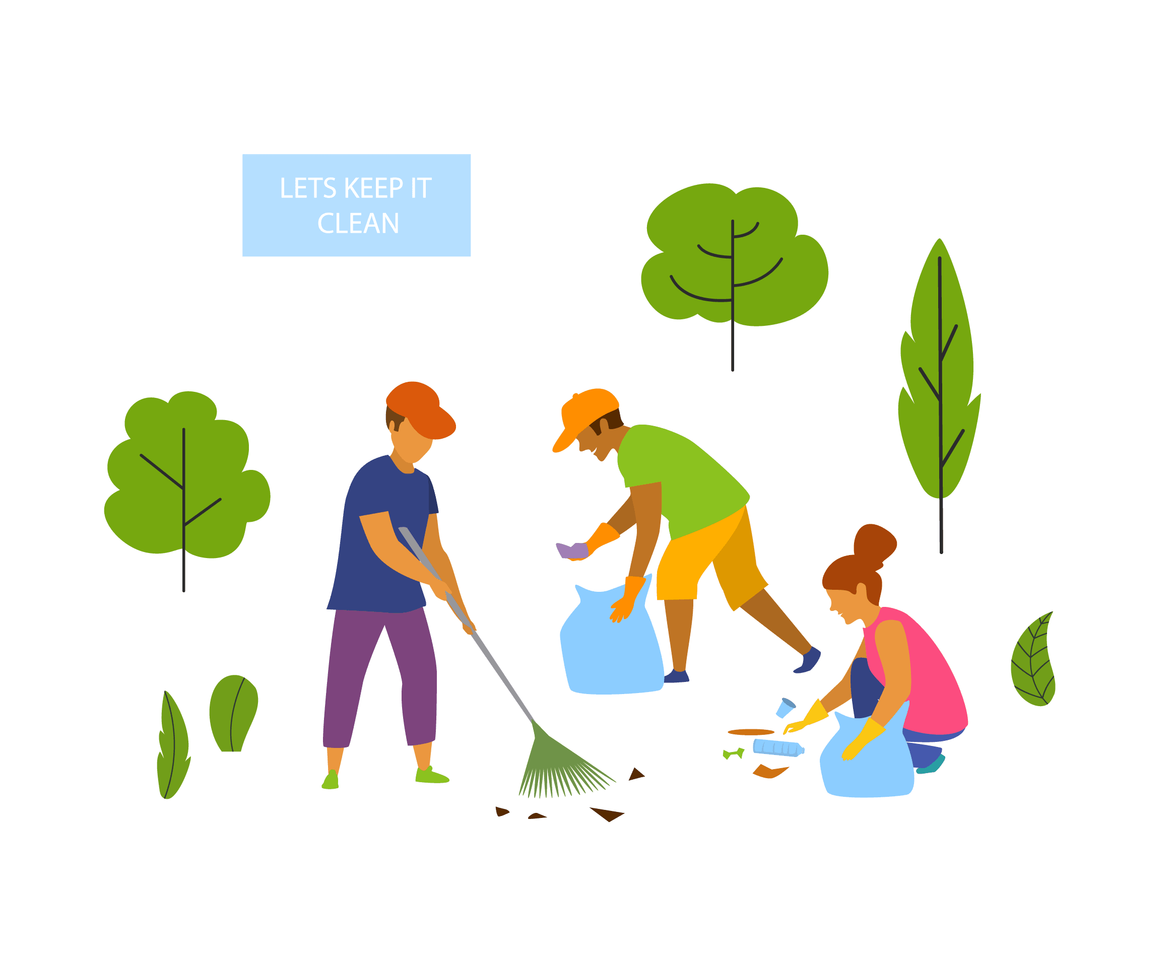 Graphic of people cleaning a park