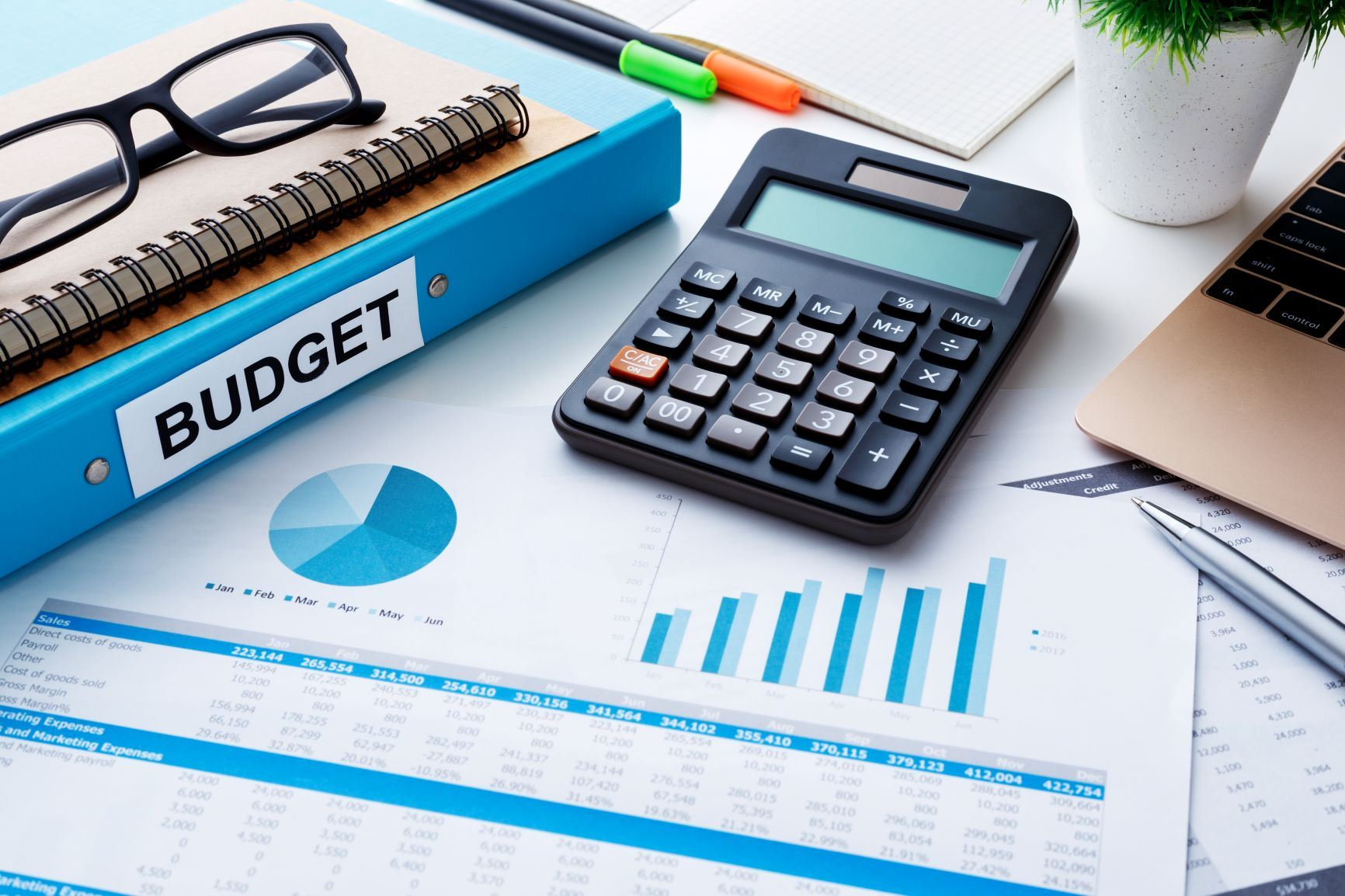 budget binder calculator and bar graphs