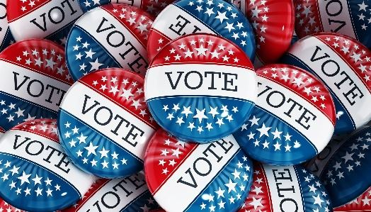 red white blue vote buttons