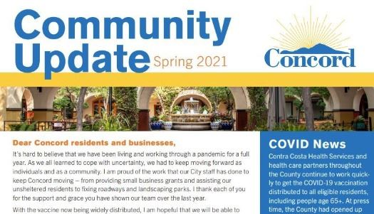 front page of community news update mailer