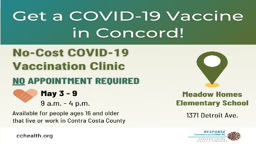 May 3 - May 9 No-Cost, Walk-in Vaccination Meadow Homes Elementary